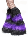 Striped Black and Purple Cyber Fluffies Leg Warmers