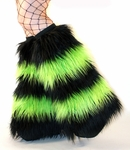 Striped Black UV Lime Green Rave Fluffies Fuzzy Leg Warmers
