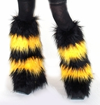 Striped Black Yellow Furry Boot Covers Fur Leg Warmers