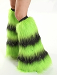 Striped Fluffies - Glitter Lime Green and Black