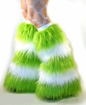 Striped Lime Green White Fluffies Leg Warmers