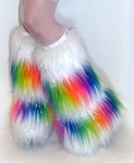 Striped Multi-Color Rainbow / Sparkly White Fluffy Leg Warmers