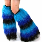 Striped Sparkle Fluffies Turquoise, Royal Blue, Black Leg Warmers