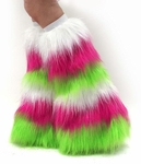 Striped White, Hot Pink, Lime Rave Sparkle Fluffies