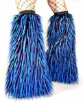 UV Blue, Purple, Black Monster Fur Fluffies Boot Covers, Leg Warmers