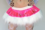 UV Hot Pink Clear Vinyl Sparkle White Fur Skirt