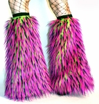 UV Lime Hot Pink Purple Monster Fluffies Leg Warmers Boot Covers