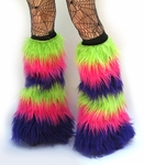 UV Lime, Neon Pink, Purple Fluffies Leg Warmers