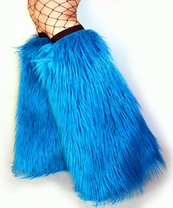 Neon Blue Turquoise Fluffies Leg Warmers