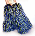 Lime, Blue, Black Monster Fluffies Boot Covers