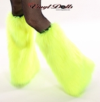 UV Neon Yellow Fur Fluffies Leg Warmers