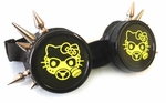 UV Yellow Hello Kitty Spiked Black Cyber Goggles