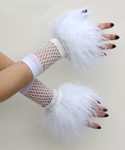 White Furry Wrist Cuffs