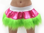 White Pink Lime Vinyl and Fur Rave Wear Skirt