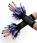 White Purple Black Monster Fur Wrist Cuffs