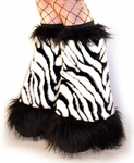 Zebra Fluffies Furry Leg Warmers / Boot Covers