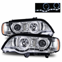 01-03 BMW X5 E53 Angel Eye Halo & LED DRL Strip Projector Headlights - Chrome