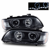 01-03 BMW X5 E53 Angel Eye Halo & LED Strip Projector Headlights - Black