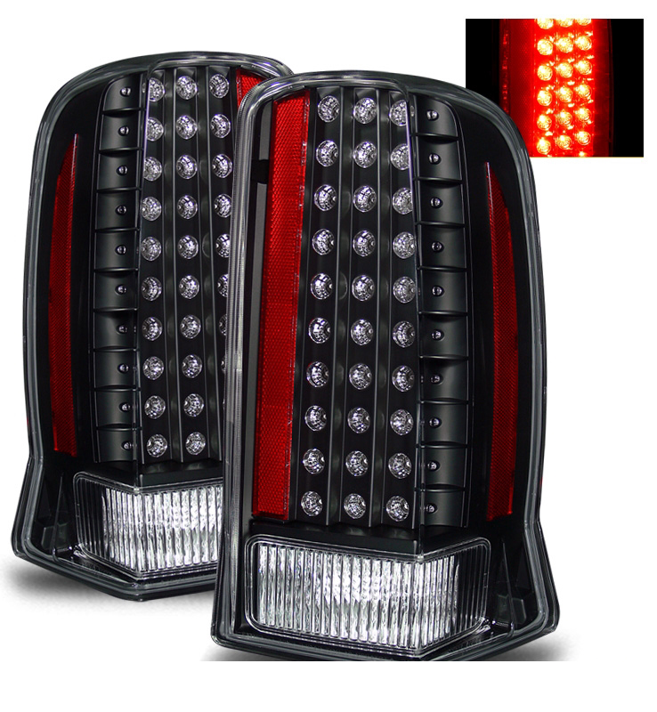 02 06 cadillac escalade euro style led tail lights black. Black Bedroom Furniture Sets. Home Design Ideas