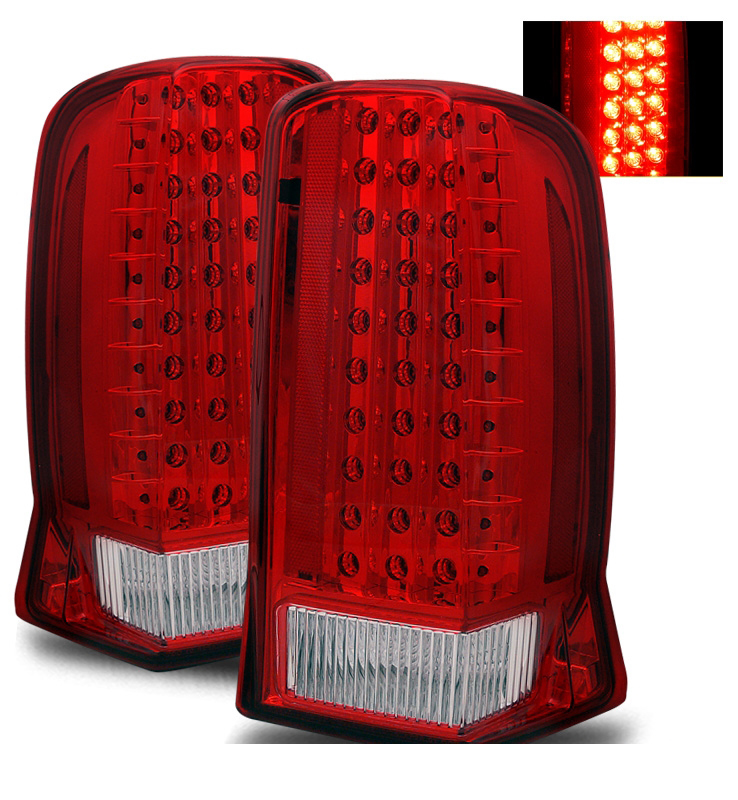 02 06 cadillac escalade euro style led tail lights red clear. Black Bedroom Furniture Sets. Home Design Ideas