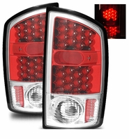 02-06 Dodge Ram 1500 / 2500 / 3500 Euro LED Tail Lights - Red / Clear