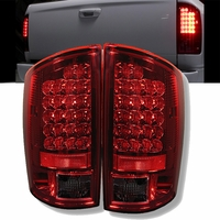 02-06 Dodge Ram Pickup Euro LED Tail Lights - Red / Smoke ALT-YD-DRAM02-LED-RS By Spyder