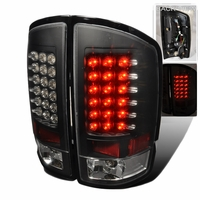 02-06 Dodge Ram Pickup Truck Euro LED Tail Lights - Black
