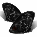 03-04 Infiniti G35 Sedan [Halogen Model] Crystal Replacement Headlights - Black Smoked