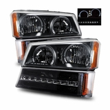 03-06 Chevy Silverado Angel Eye Halo Crystal Headlights + LED Bumper Lights - Black