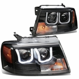 04-08 Ford F150 / 06-08  Lincoln Mark LT 3D Halo Projector Headlights - Black