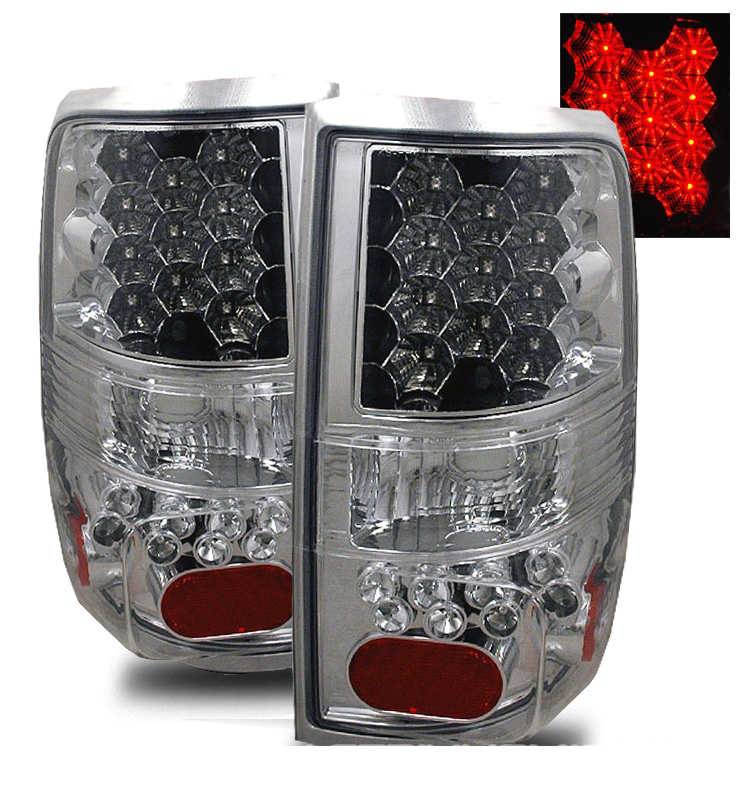 2004 2008 ford f150 f 150 euro style led tail lights chrome. Black Bedroom Furniture Sets. Home Design Ideas