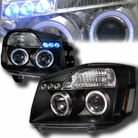 2004-2014  Nissan Titan / Armada Dual Halo DRL LED Projector Headlights - Black