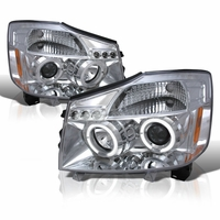 04-14 Nissan Titan / 04-07 Armada Dual Halo DRL LED Projector Headlights - Chrome