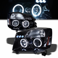 2004-2014  Nissan Titan / Armada Dual Halo DRL LED Projector Headlights - Gloss Black