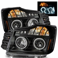 04-12 Nissan Titan Dual CCFL Halo & LED DRL Projector Headlights - Black