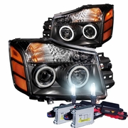 HID Xenon + 04-12 Nissan Titan / Armada CCFL Angel Eye Halo & LED Projector Headlights - Black