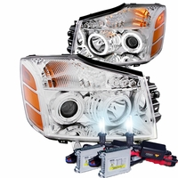 HID Xenon + 04-12 Nissan Titan / Armada CCFL Angel Eye Halo & LED Projector Headlights - Chrome