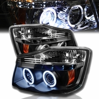 04-14 Nissan Titan Dual Halo & LED Projector Headlights - Black