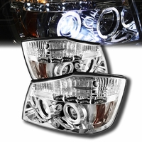 2004-2014 Nissan Titan Dual Halo & LED Projector Headlights - Chrome