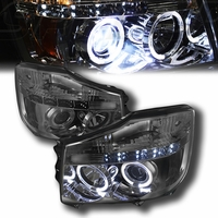 04-14 Nissan Titan / 04-07 Armada  Dual Halo & LED Projector Headlights - Smoked