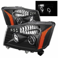 04-14 Nissan Titan / 04-07 Armada Angel Eye Halo & LED Projector Headlights - Black