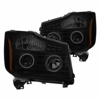 04-15 Nissan Titan LED DRL Halo Projector Headlights - Black Smoked