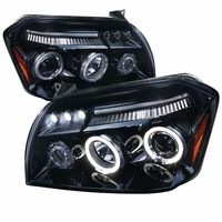 05-07 Dodge Magnum Angel Eye Halo & LED DRL Projector Headlights - Gloss Black