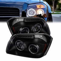 05-07 Dodge Magnum Angel Eye Halo & LED Projector Headlights - Black Smoked