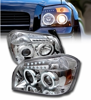 05-07 Dodge Magnum Angel Eye Halo & LED Projector Headlights - Chrome