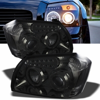 05-07 Dodge Magnum Angel Eye Halo & LED Projector Headlights - Smoked