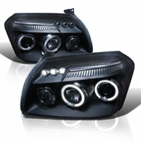 05-07 Dodge Magnum Angel Eye Halo LED Strip Projector Headlights - Chrome