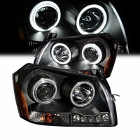 05-07 Dodge Magnum CCFL Angel Eye Halo & LED Projector Headlights - Black