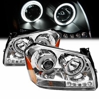 05-07 Dodge Magnum CCFL Angel Eye Halo & LED Projector Headlights - Chrome