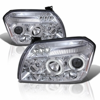 05-07 Dodge Magnum Halo LED DRL Projector Headlights - Chrome
